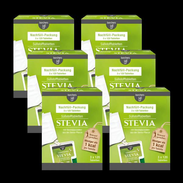 6 x Stevia Nachfüllpack Süßstofftabletten 120 Stk.