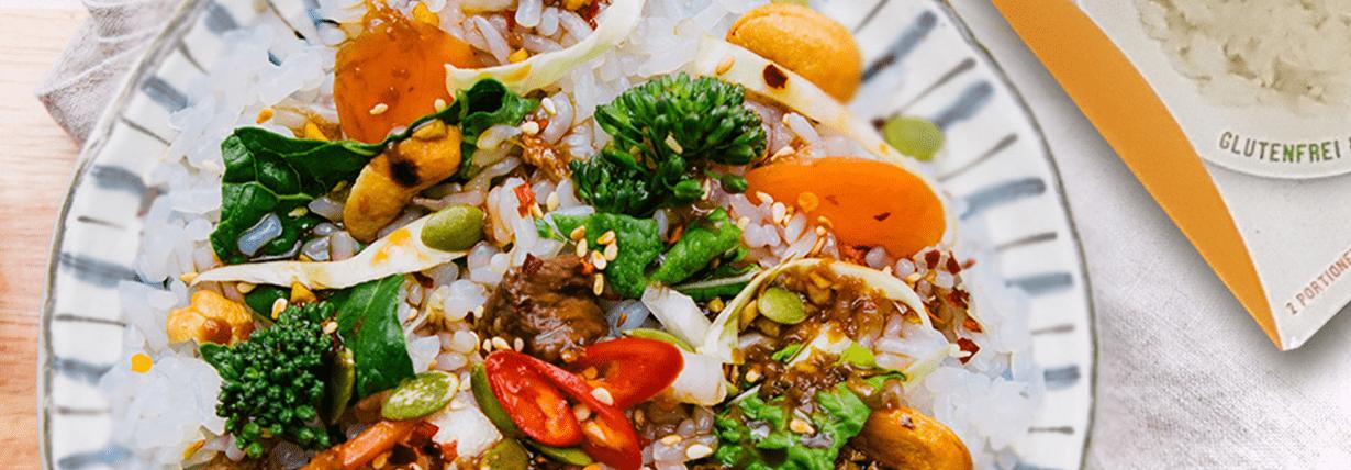 Rindfleischstreifen und Brokkoli mit Slendier-Reis